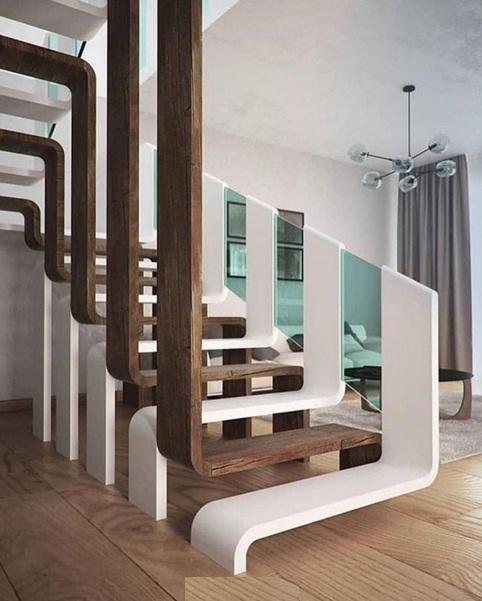 عکس مدل راه پله مدرن ساخت شیشه و چوب