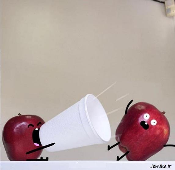 عکس های خنده دار از هنرنمایی روی میوه ها