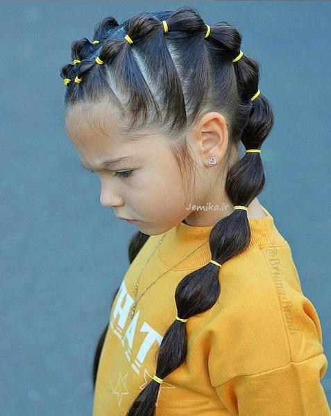 مدل بستن موی دختر بچه ها در خانه