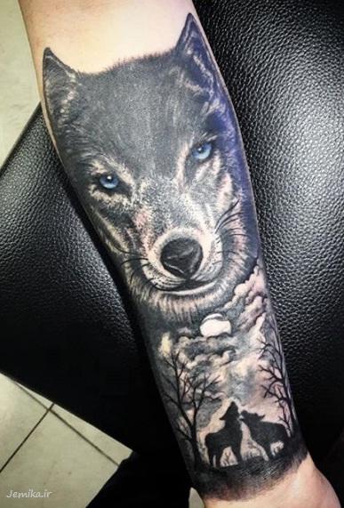 مدل تاتو خفن گرگ روی دست